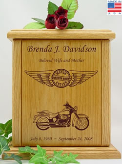 Forever Riding Motorcycle Wood Urn