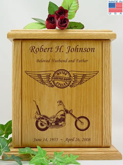 Forever Riding Chopper Wood Cremation Urn