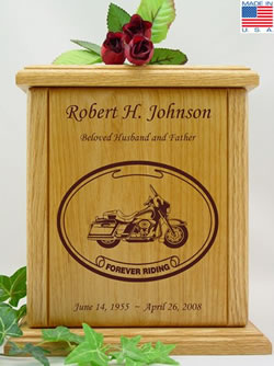 Cruiser Laser Engraved Wood Urn