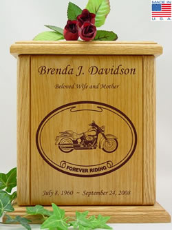 Motorcycle Laser Engraved Wood Cremation Urn
