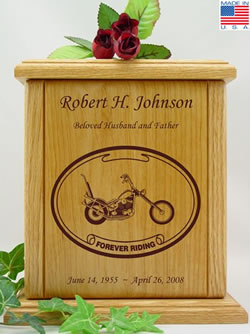 Chopper Laser Engraved Wood Cremation Urn