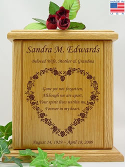 Rose Heart with Poem Urn