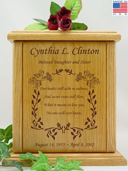 Cherubs and Roses Wooden Cremation Urn