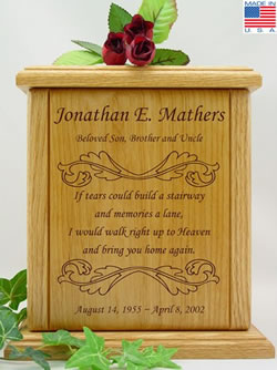 Leaf Scroll Border with Poem Wood Cremation Urn