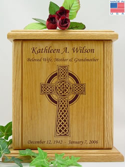 Celtic Cross Wood Cremation Urn