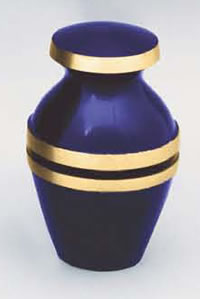 Cobalt Brass Keepsake Cremation Urn