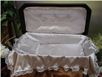 "Plush Small 18"" Black/Silver Pet Casket"