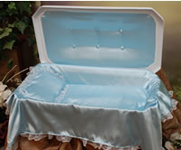 "Plush Small 18"" White/Blue Pet Casket"