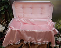 "Plush Small 18"" White/Pink Pet Casket"