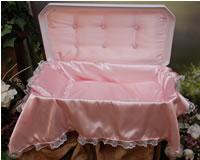 Plush Small White/Pink Pet Casket