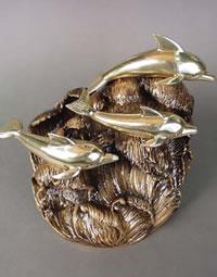 Bronze Dolphins Cremation Urn