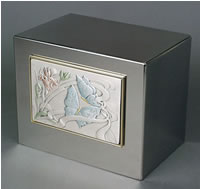 Butterflies and Iris Stainless Steel Cremation Urn