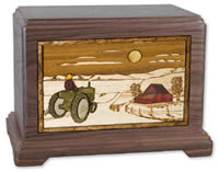 Farmer and Tractor Cremation Urn