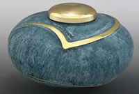 Light Blue Luce Brass Cremation Urn