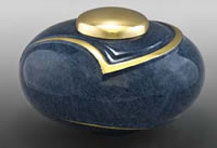 Deep Blue Luce Brass Cremation Urn