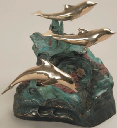 Three Dolphins Cast Bronze Cremation Urn