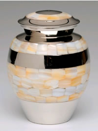 Small Nickel and Mother of Pearl Ashes Cremation Urn