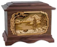Mountain Lake 3D Wood Cremation Urn
