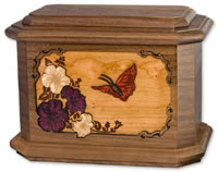 Wooden Butterfly Cremation Urn