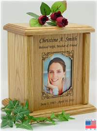 Rectangular Photo Frame Wood Urn