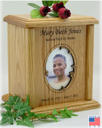 Wavy Oval Photo Frame Wood Cremation Urn