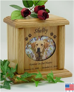 Horizontal Oval Wood Pet Urn