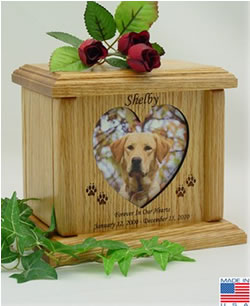 Heart Photo Wood Pet Cremation Urn