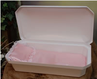 At Peace Small White/Pink Pet Casket