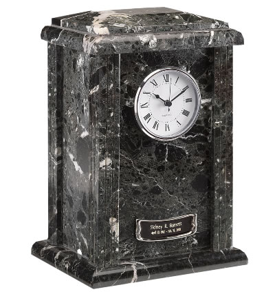 Marble Cremation Urn - Black Grain Clock Tower