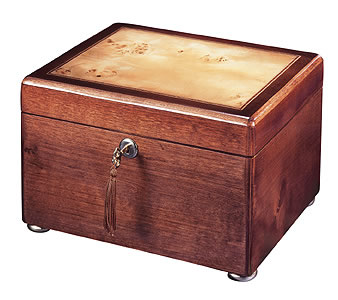 Cherry with Inlaid Burl Memory Chest Urn
