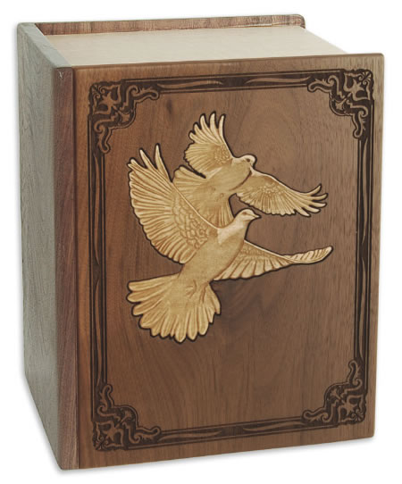 Inlaid Doves Hardwood Large Sized Double Cremation Urn