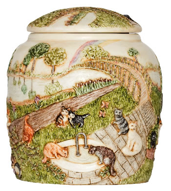 A Rainbow Bridge III  Cat Cremation Urn