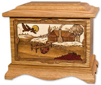 Lake and Cabin Wooden Cremation Urn
