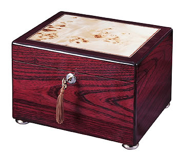 Rosewood and Burl Memory Chest Cremation Urn
