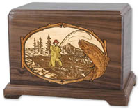 Wood Fisherman Cremation Urn