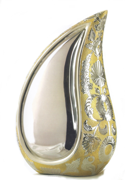 Teardrop Cremation Urn - Silver Gold