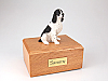 Springer Spaniel, Blk-Wht Sitting Dog Figurine Urn