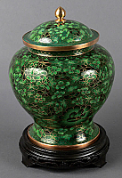 Hong Kong Green Cloisonne Cremation Urn
