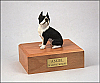 Boston Terrier White-Dark Slate Gray Sitting Dog Figurine Cremation Urn