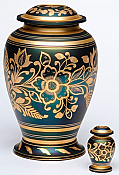 Green and Gold Flowered Cremation Urn
