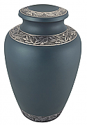 Beautiful Blue Cremation Urn with Pewter Accents