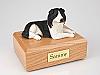 Border Collie Dark Gray-White Laying Dog Figurine Cremation Urn