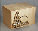 Fisherman Bronze Cube Urn