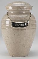A Beautiful Creamwash Marble Cremation Urn
