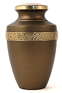 Engraved - Chestnut Brown Brass Cremation Urn