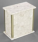 Small Beige Marble Cremation Urn with Trim