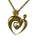 Gold double heart pendant urn