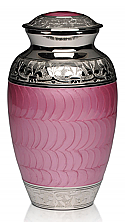 Pink Enamel with Nickel Finish Adult Cremation Urn