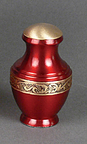 Deep Red Brass Keepsake Cremation Urn