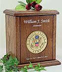 Army Recessed Medallion Chestnut Cremation Urn